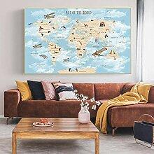 HXLZGFV Affiche de Carte du Monde d'avion