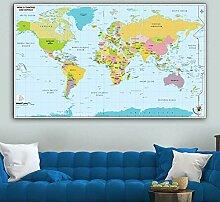 HXLZGFV Art Mural Carte du Monde Toile peintures