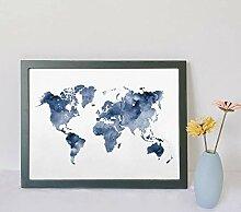 HXLZGFV Carte du Monde Bleu Impression Carte