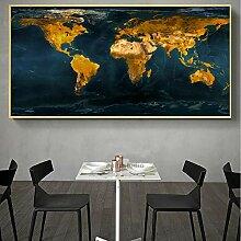 HXLZGFV Carte du Monde d'or peintures sur