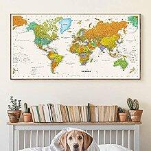 HXLZGFV Carte du Monde décorative Photo Toile