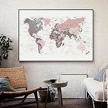 HXLZGFV Carte du Monde Moderne Toile Peinture