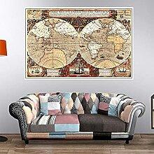 HXLZGFV Carte du Monde Vintage Grande Affiche