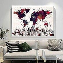 HXLZGFV Creative Coloré La Carte du Monde Toile