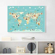 HXLZGFV Dessin animé Animal océan Carte du Monde