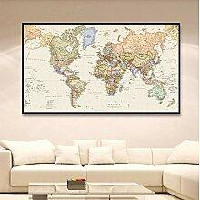 HXLZGFV La Carte du Monde avec des détails rétro