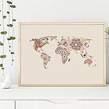 HXLZGFV Mandala Carte du Monde Affiche décor,