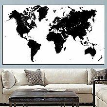 HXLZGFV Moderne Abstrait Noir et Blanc Carte du