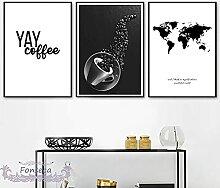 HXLZGFV Noir Blanc Carte du Monde Grain De Café