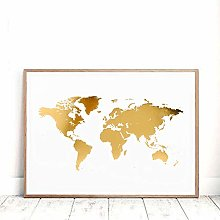 HXLZGFV Or Carte du Monde Impression Bureau décor