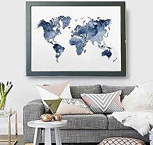 HXLZGFV Peinture sur Toile Bleu Carte du Monde