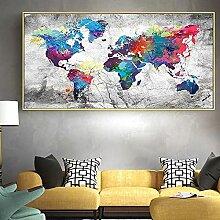 HXLZGFV Toile Mur Art Carte du Monde colorée