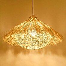 HYQJUNE Bambou Naturel Tissé Pendentif Lumière
