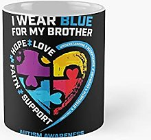 I Wear Blue For My Brother Kids Autism Awareness