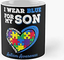 I Wear Blue For My Son Autism Awareness Mom Dad