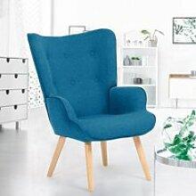 ID MARKET - Fauteuil scandinave IVAR en tissu bleu