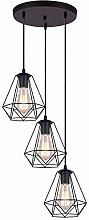 iDEGU 3 Lampes Suspension Vintage Lustre