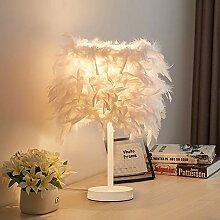 iDEGU Lampe de Table en Plumes Blanche Moderne