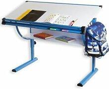 IDIMEX Bureau enfant BLUE, réglable en hauteur et