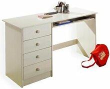 IDIMEX Bureau enfant MALTE, 4 tiroirs, lasuré