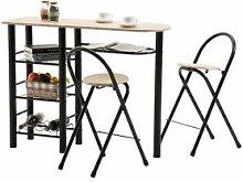 IDIMEX Ensemble table haute de bar et 2 chaises