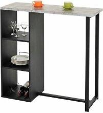 IDIMEX Table haute de bar PIAVA, décor marbre gris