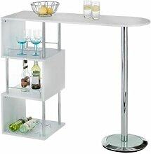 IDIMEX Table haute de bar VIGANDO, blanc mat
