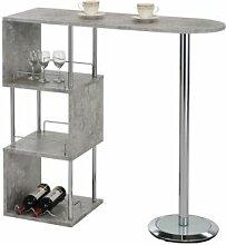 IDIMEX Table haute de bar VIGANDO, décor béton