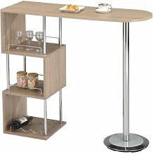 IDIMEX Table haute de bar VIGANDO, décor chêne