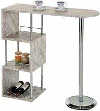 IDIMEX Table haute de bar VIGANDO, décor marbre