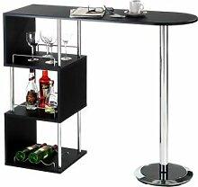 IDIMEX Table haute de bar VIGANDO, noir mat
