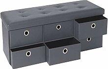 IDMarket - Banc coffre rangement gris 6 tiroirs
