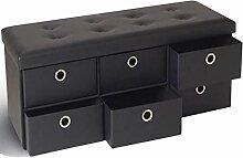 IDMarket - Banc coffre rangement noir 6 tiroirs