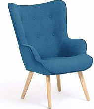 IDMarket - Fauteuil scandinave Ivar en Tissu Bleu