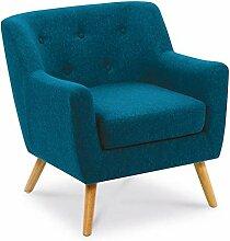 IDMarket - Fauteuil scandinave LIV en Tissu Bleu