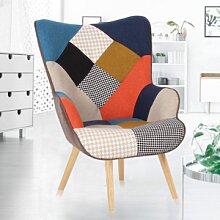 IDMarket Fauteuil scandinave multicolore et