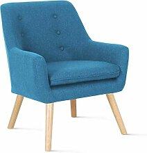 IDMarket - Fauteuil scandinave NAT en Tissu Bleu