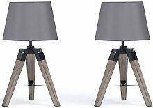 IDMarket - Lot de 2 Lampes de Chevet trépied en