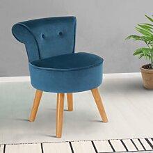 IDMarket Petit fauteuil crapaud bleu en velours