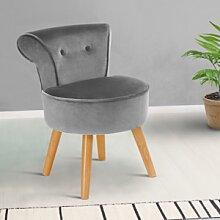 IDMarket Petit fauteuil crapaud gris en velours