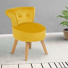 IDMarket Petit fauteuil crapaud jaune en velours
