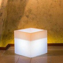 Idralite - Pot de fleurs lumineux cube Led carré