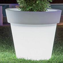 Idralite - Pot de fleurs lumineux rond jardinière