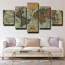 IKDBMUE Multi Panneaux 5 Parties -Carte du Monde