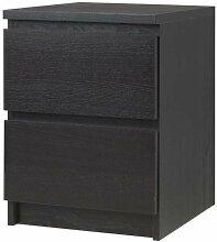 IKEA Table de chevet à 2 tiroirs (noir/marron)