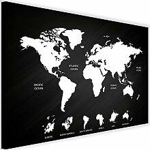 Image Toile Carte du Monde avec couche de Liege