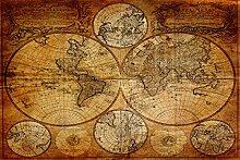 ime4art Image sur toile avec motif carte du monde