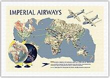 Imperial Airways - Carte du Monde - Affiche Avion