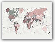 Impression sur toile Rose Blush Carte du Monde