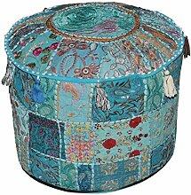 indien Turquoise vintage Ottoman ornés de